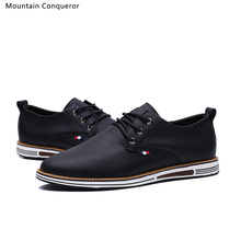 Mountain Conqueror  Brand Men Shoes Casual PU Leather Fashion Trend Black/Brown Slip On Flats for Drop Shipping