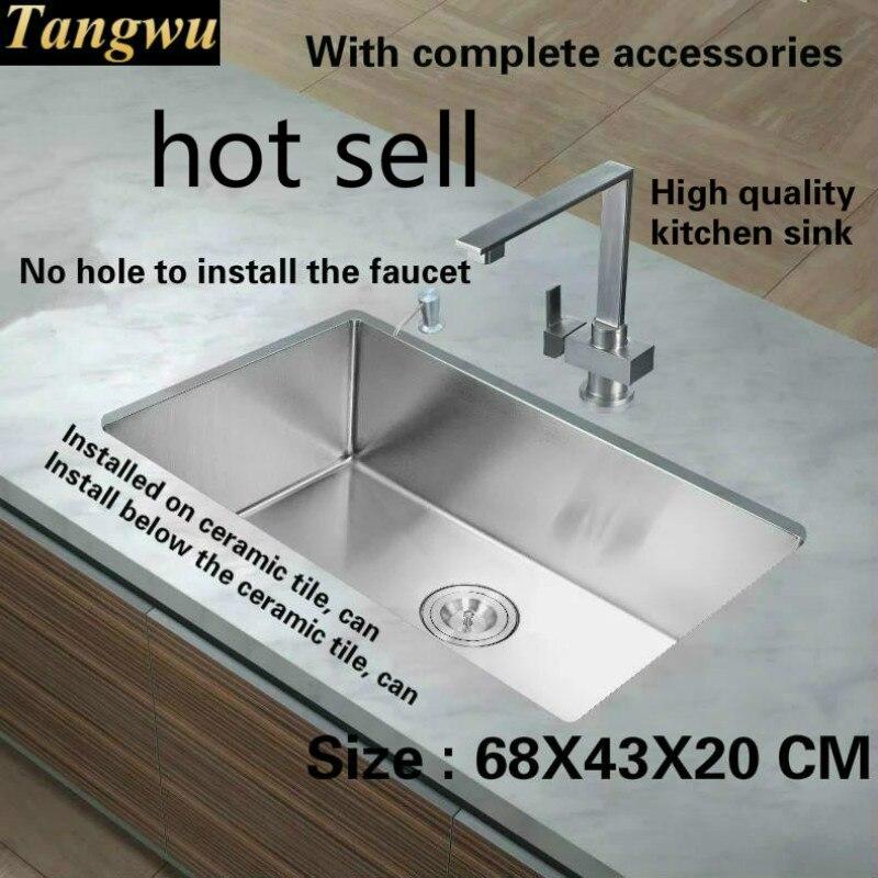 Tangwu High-grade Food Grade 304 Stainless Steel 1.2 MM Kitchen Sink  Handmade Small Single Slot 68x43x20 CM