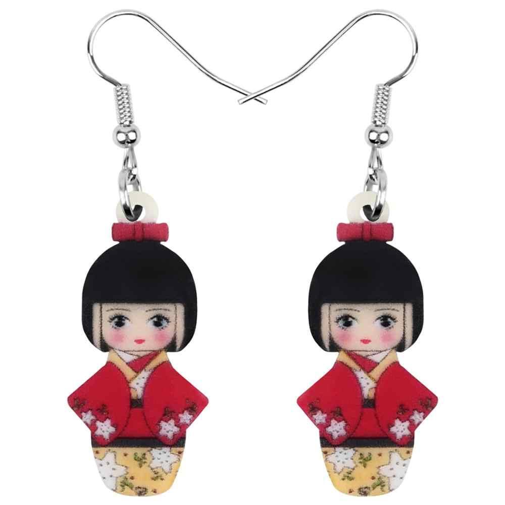Weveni 아크릴 애니메이션 블루 일본 기모노 소녀 인형 귀걸이 드롭 여자를위한 매달린 쥬얼리 여자 십대 아이 장식 선물 대량