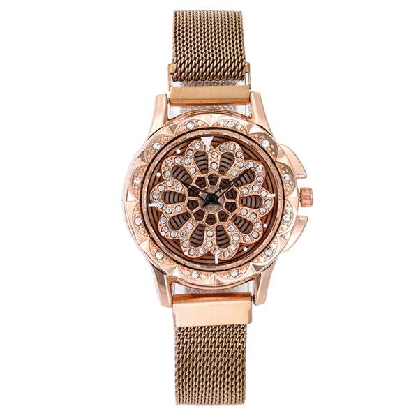 Women Watches 360 Degree Rotation Mesh Magnet Buckle Starry Sky Watch Fashion Ladies Geometric Quartz Watch Relogio Feminino