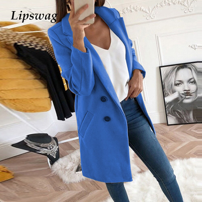 Women Blend Coat 5XL Autumn Winter Turn-Down Collar Long Wool Jacket Coat Casual Plus Size Female Cardigan Outwear Windbreake