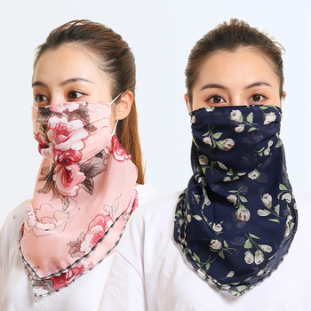 2020 Chiffon Women Mouth Mask Neck Scarf Floral Print Sunscreen Head Ring Scarves Silk Face Mask Foulard Lady Outdoor Protect