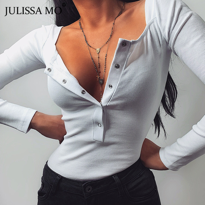 JULISSA MO Black Sexy Knitted Bodycon Bodysuit Women Long Sleeve Button Rompers Womens Jumpsuit 2020 Autumn Basic Slim Body Tops