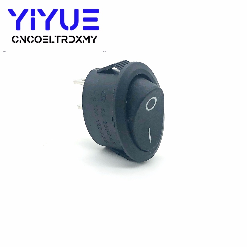 5Pcs Rocker Switch Ellipse Black KCD1 2Pin two position Seesaw Power switch  6A250VAC 10A125VAC toggle switch (5)