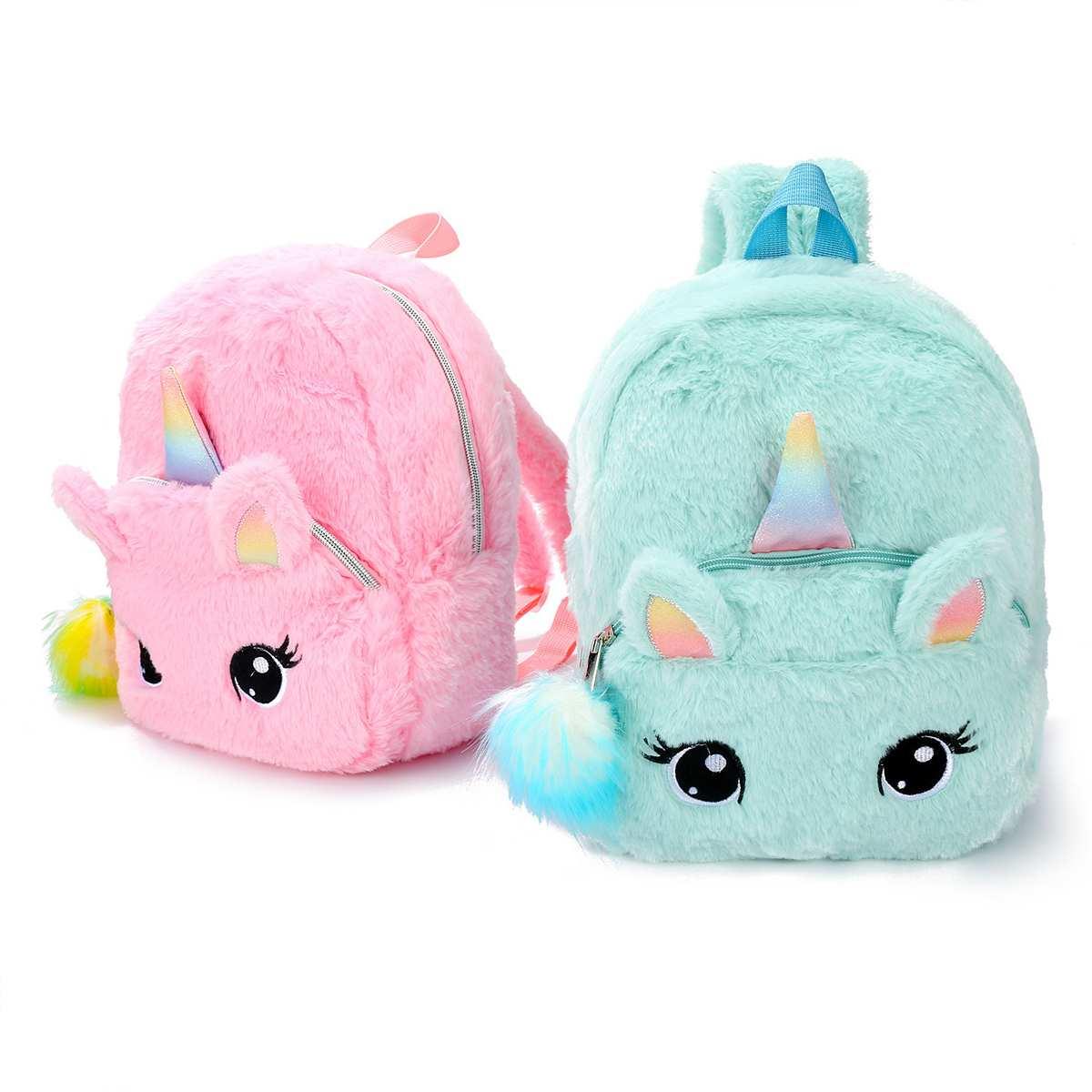 Unicorns Cartoon School Book Bag Girl Women Fur Backpack Kindergarten Cute Bag Travel Children Schoolbag Kids Gift Book Bag