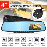4 Inch Car DVR Camera Review Mirror FHD 1080P Video Recorder Night Vision Dash Cam Parking Monitor Auto Registrar Dual Lens DVR