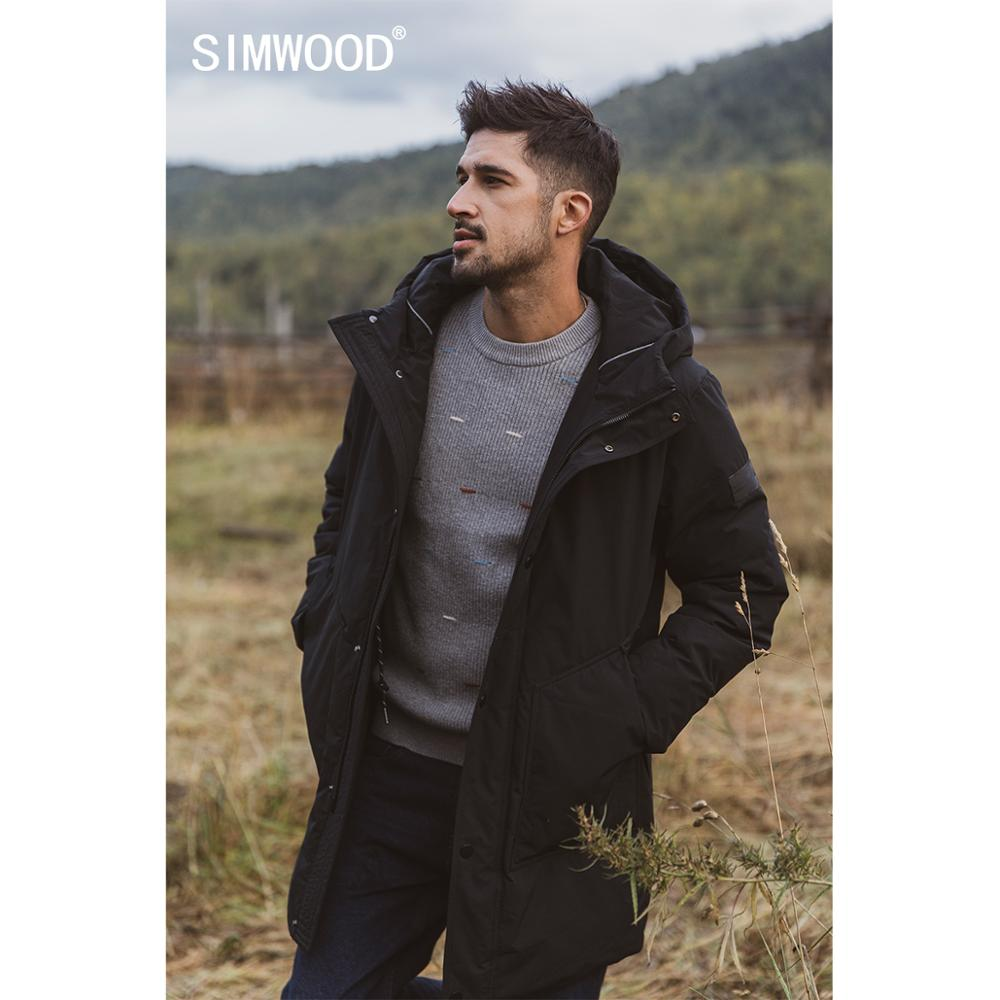 SIMWOOD 2019 Winter New Warm 80% White Duck Down Coats Long Hooded Down Parka Fashion Letter Print Jackets SI980648