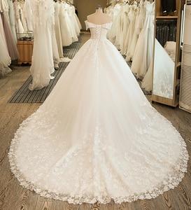 Image 2 - SL 5061 숄더 웨딩 신부 드레스 볼 가운 자수 레이스 applique Boho 웨딩 드레스 2020 noiva 플러스 사이즈 드레스