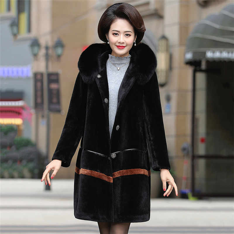 Женское благородное кашемировое меховое пальто большого размера, куртка 2019, зимнее пальто с капюшоном и меховым воротником, толстое теплое шерстяное пальто для среднего возраста XIN106