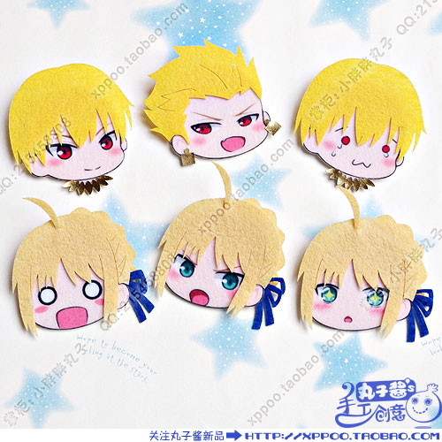 Cute Anime Fate/stay Night Altria Pendragon Saber Gilgamesh Cosplay Badge Nonwoven Fabric Button Brooch Pin Bedge Gifts