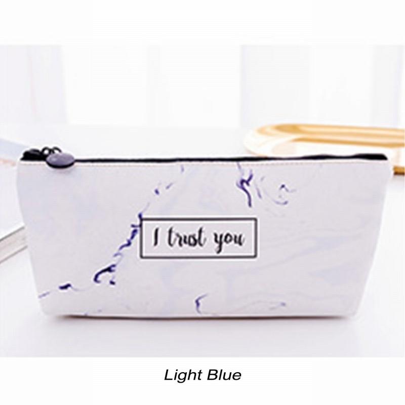 Светильник синий Студенческая сумка для канцелярских принадлежностей мраморный узор PU пенал Чехол Многофункциональные Канцелярские