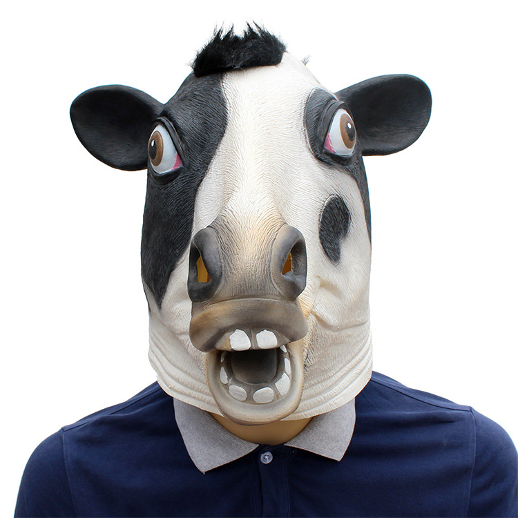 Animal Head Mask Latex Deluxe Novelty Halloween Costume Party Cow Party Cosplay Accessories
