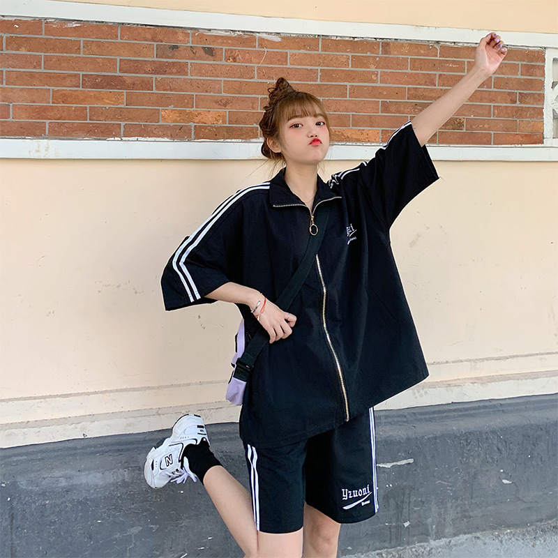 Sports Clothing Set 2020 Summer New Style Loose-Fit Hip Hop Hong Kong Flavor Retro Trench Coat Two-Piece Set Men And Women Coupl