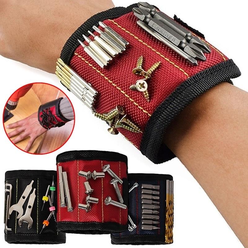1pcs Elastic Stronger Magnetic Belt Bracelet Wristband Woodworking Hand Wrist Tool Pocuh Bag Household Manual Tool Accessories