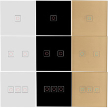 EU Standard Touch Wall Light Sensor Switch 220V, Smart Home Touch Screen Lamp Switches 86 Type Crystal Glass Panel 1/2/3 Gang chint lighting switches 118 type switch panel new5d steel frame four position six gang two way switch panel