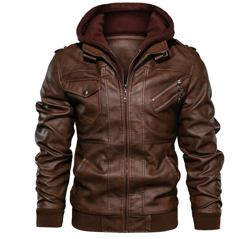 Men's Leather Jacket, Pu Leather Jacket With Removable Hood For Motorcycle, With Oblique Zipper For Men Coat Large Size