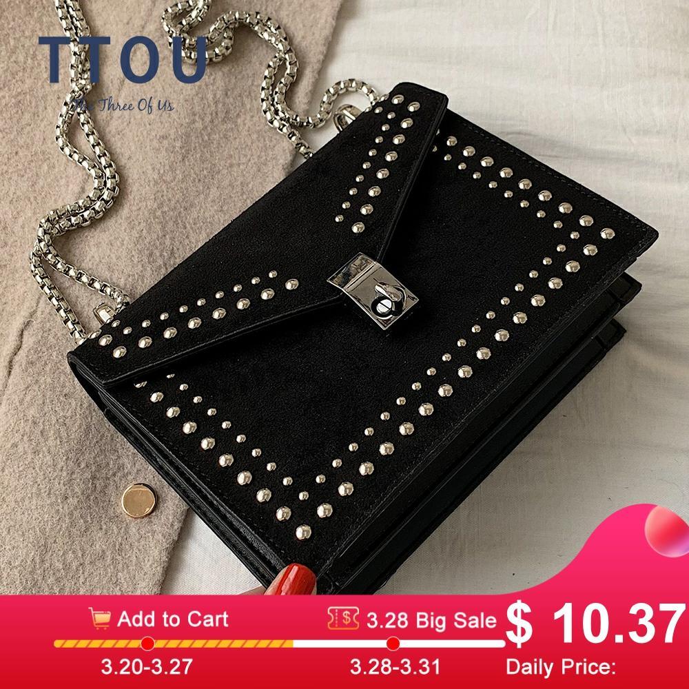 2019 Scrub Leather Small Shoulder Messenger Bags For Women Chain Rivet Lock Crossbody Bag Female Travel Vintage Mini Bags