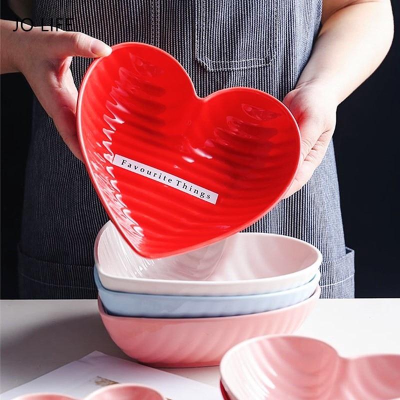 JO LIFE Heart Shape Bowl Valentine's Day Romantic Ceramic Dessert Salad Dish Kitchen Oven Tableware Cake Food Bowl|Bowls| |  - title=