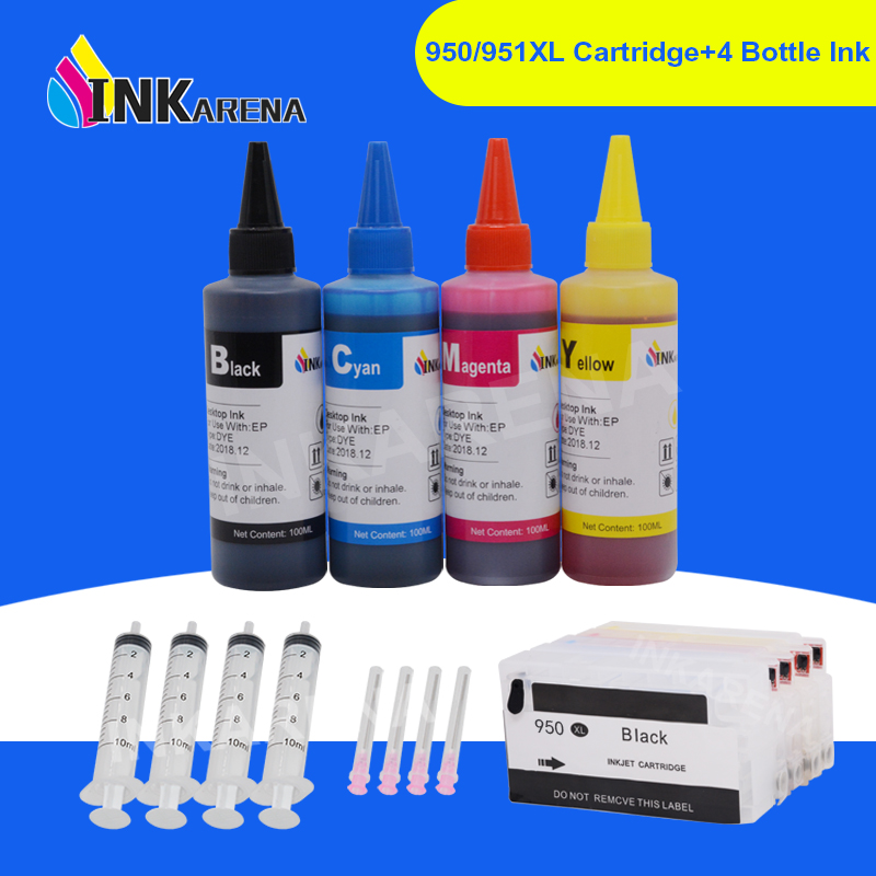 INKARENA 950 <font><b>951</b></font> XL Printer Ink Cartridge + 400ml Bottle Ink For <font><b>HP</b></font> 950XL Officejet Pro 251dw 276dw 8100 8600 8610 8620 Printers image