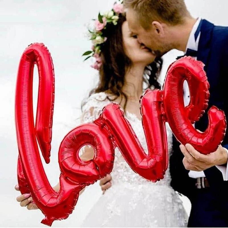 108 см Сиамские Любовь Воздушные шары для свадебного декора любовное письмо Фольга воздушных шаров свадьбные валентинки, открытки на годовщ...