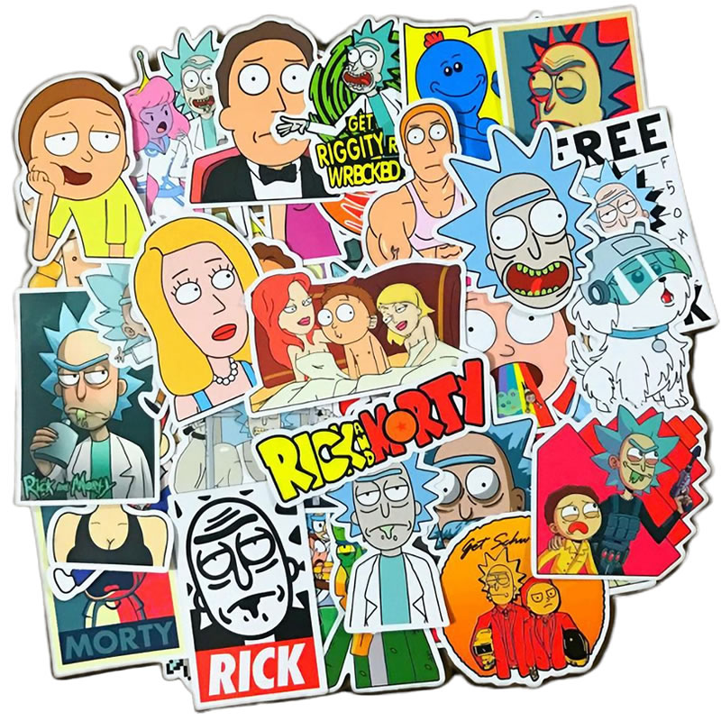 10/30/50pcs Anime Rick And Morty Waterproof PVC Children Stickers Skateboard Suitcase Guitar Graffiti Sticker Kids Classic Toy
