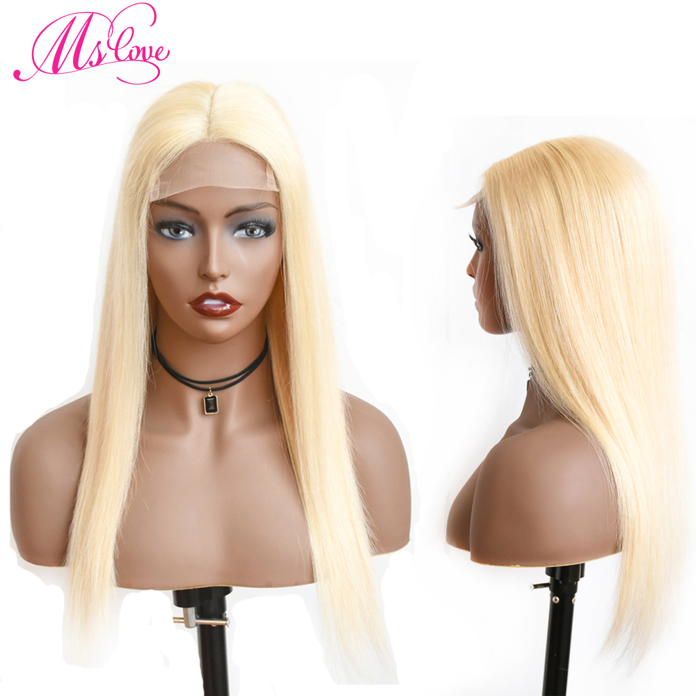 613 Lace Wig Blonde 4X4 Lace CLosure Human Hair Wigs Straight Brazilian Wigs For Women Transparent Lace 130% Non Remy