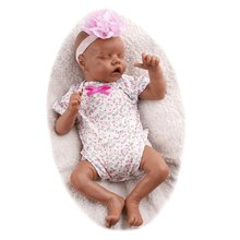RBG 17 Inches Reborn Baby Realistic Black Doll Vinyl Dolls Soft Touch Newborn Bebe Toy Surprise Gift For Children Toys For Girl
