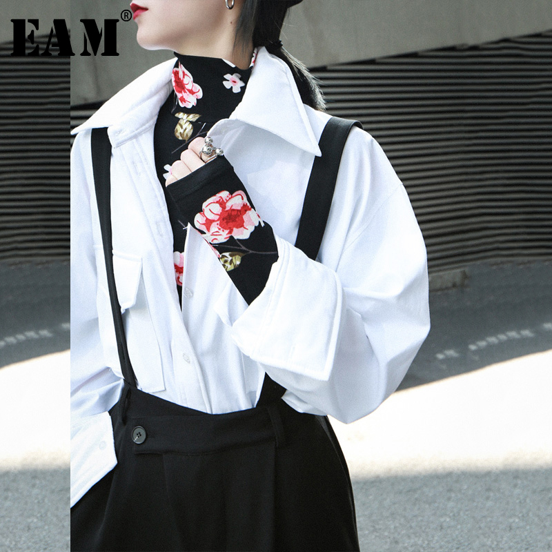[EAM] Women Elastic Flower Print Black Temperament T-shirt New Turtleneck Long Sleeve  Fashion Tide  Spring Autumn 2020 1N954