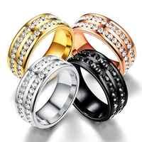 Unisex Fashion Rhinestone Double Rows Wedding Party 2.22cm/0.87inch Ring 2.14cm/0.84inch Casual