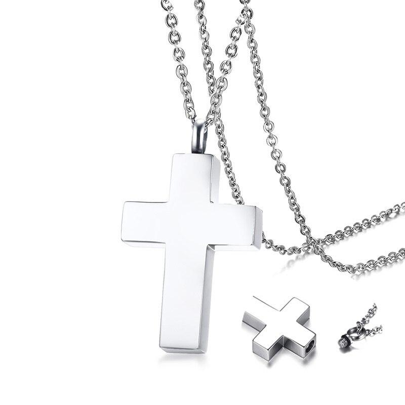 Keepsake Cross Pendant Necklace Men's Stainless Steel Male Jewelry in Black