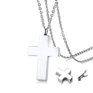 Cremation Ashes Ash Urn Keepsake Cross Pendant Necklace Men's Stainless Steel Male Jewelry in Black(China)
