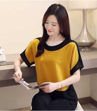 Женская шифоновая блузка diorobben летний топ с круглым вырезом