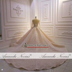 Image 3 - Потрясающее Свадебное платье с длинными рукавами и бисером 2020 Дубай