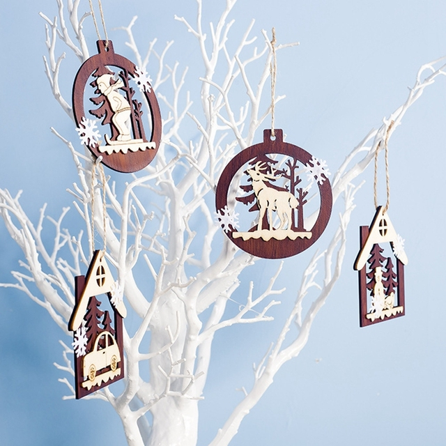 1PC 2D 3D Christmas Ornament Wooden Hanging Pendants Star Xmas Tree Bell Christmas Decorations For Home Party New Year Navidad 3