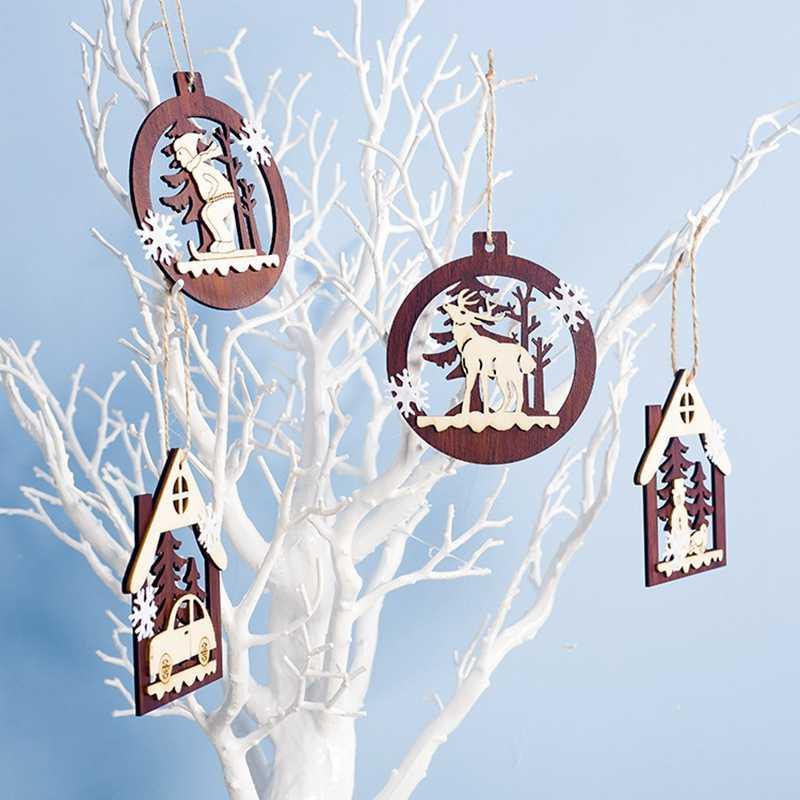 1 pieza 2D 3D adorno de Navidad colgantes de madera estrella árbol de Navidad campana adornos navideños para el hogar fiesta año nuevo Navidad