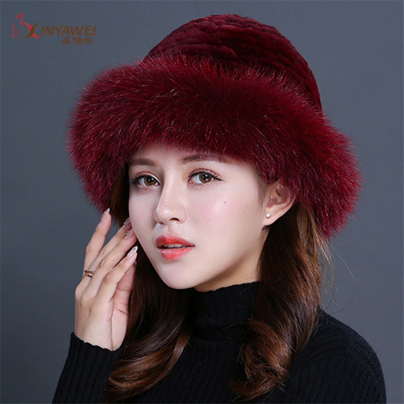 Real Mink Fur Caps For Women, Authentic Fox Fur Winter Hats, Luxurious Quality Winter Hat, Elastic, Soft And Fluffy.