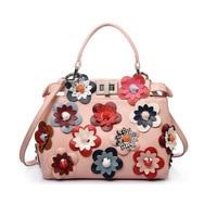 2019 Famous Brand flowers hit the flower cowhide handbags handbag mini Flower kitten bag shoulder diagonal female bag