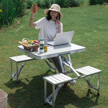 Liga de alumínio portátil mesa dobrável multifuncional stall tabela siamese churrasco acampamento conjunto mesa