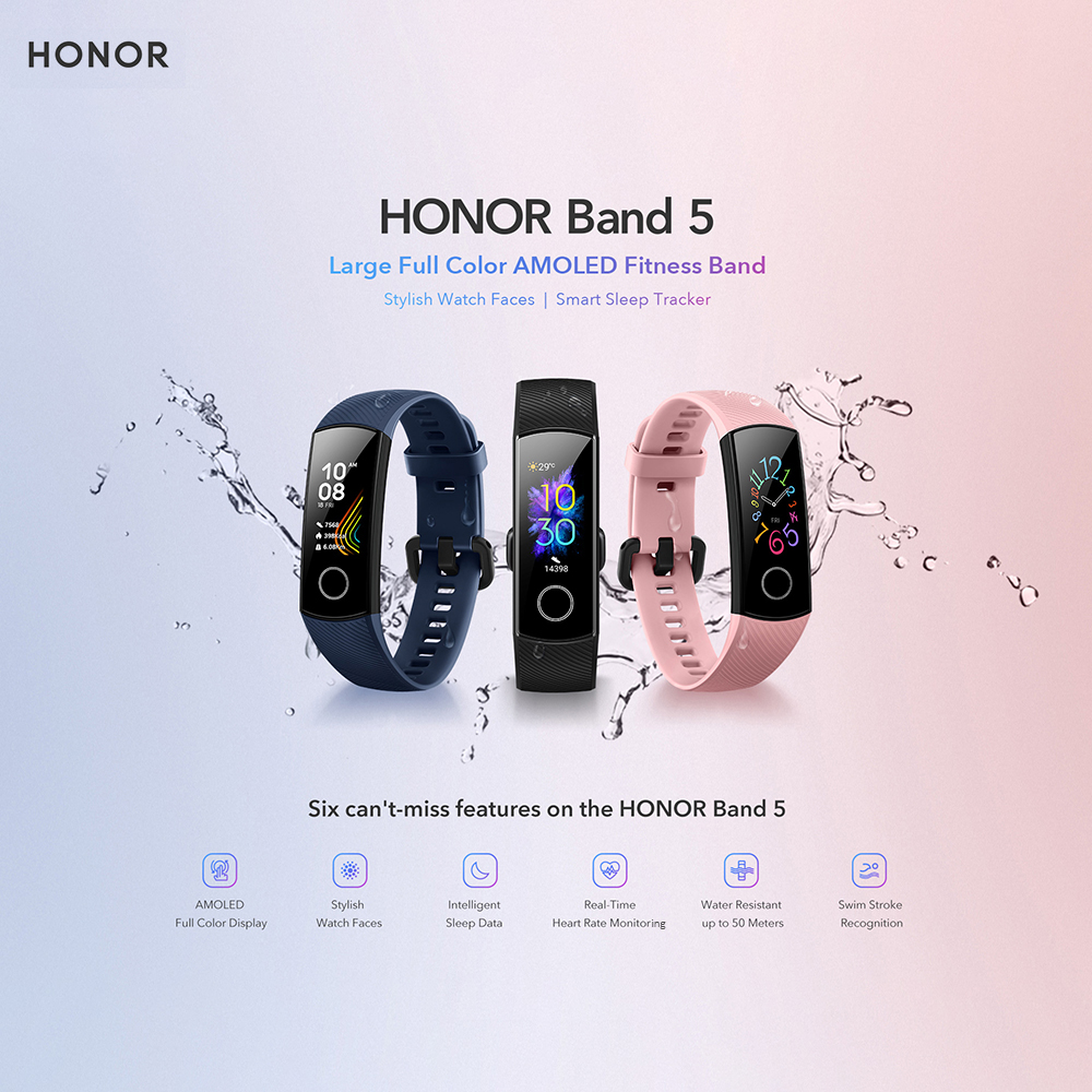 H04fafd7758f14369a3f365fb45686b30Z Huawei Honor Band 5 Fitness Bracelet BT4.2 Sleep Real-Time Heart Rate Monitoring Waterproof Smart Watch Multiple Sports Modes