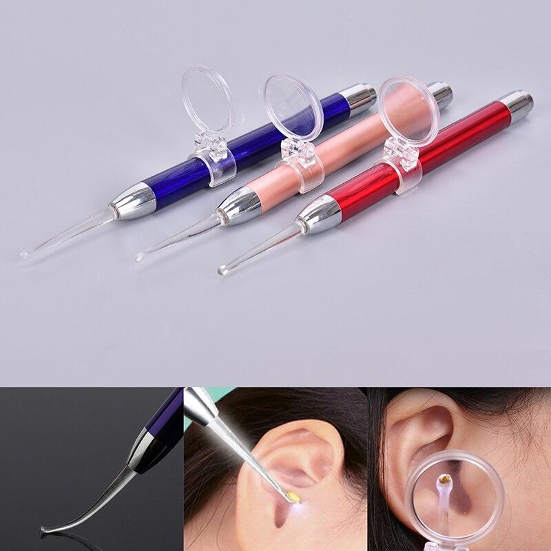 Nova ferramenta de remoção de cera de orelha do bebê limpador de orelha lanterna earpick removedor de cera de orelha de limpeza de orelha curette colher de luz com lupa
