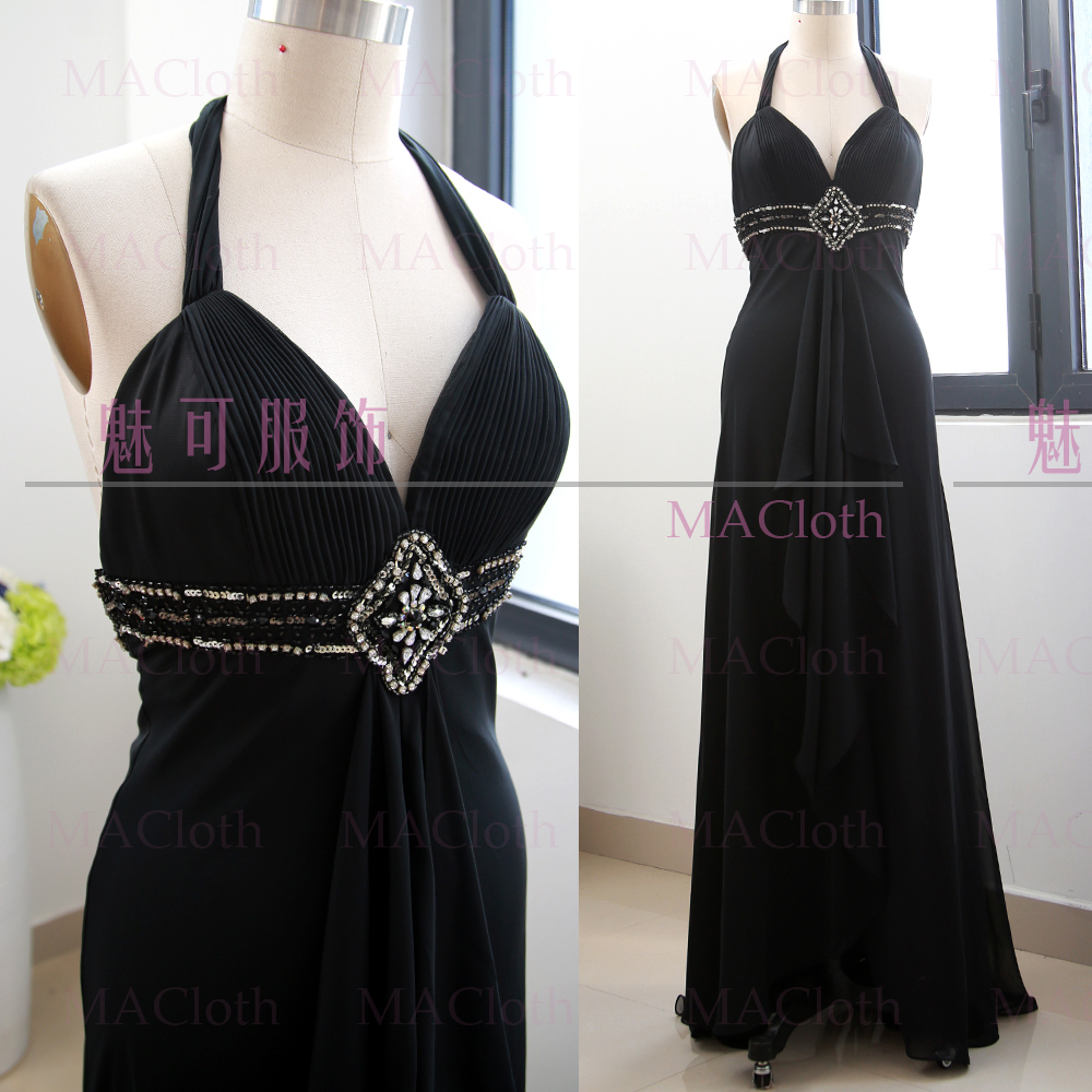 MACloth Black A-Line V Neck Floor-Length Long Beading Chiffon   Prom     Dresses     Dress   L 261199 Clearance