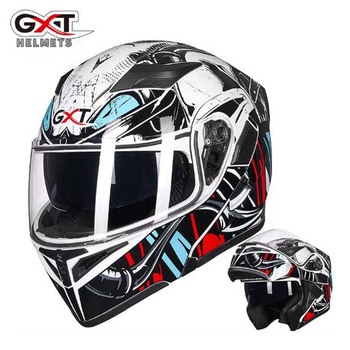 white snake Motorcycle Flip up helmet with double lens ,GXT G902  motorbike motocross off road safety helmets M L XL XXL