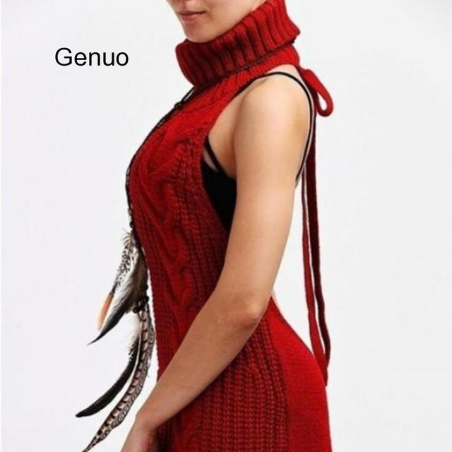 2020 Summer New Turtleneck Sleeveless Long Virgin Killer Sweater Japanes Knitted Sexy Backless Women Sweaters And Pullovers 2