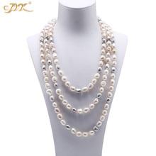 """JYX супер длинное классическое элегантное барочное ожерелье длинные 8-9 мм натуральный жемчуг 6"""" серые ювелирные изделия для женщин"""