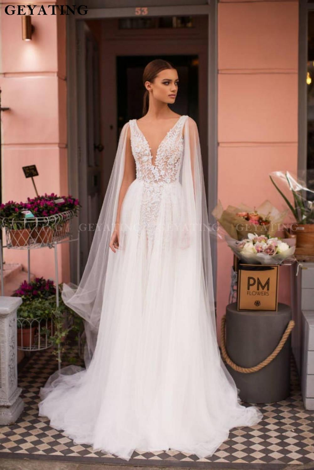 2020 Deep V Neck Backless Wedding Dress With Cape White Tulle Lace Appliques Beaded Pearls A Line Bridal Gowns Vestidos De Novia