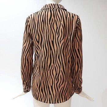Women Blouses Long Sleeve Turn Down Collar Chiffon Blouse Fashion Zebra Print Office Shirt Casual Tops Plus Size Chemisier femme 6