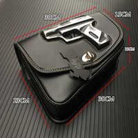 1 stücke Schwarz Motorrad PU Leder Rechte seite Gun Logo Sattel Sattel Tasche Universal Für Harley Sportster XL883 1200