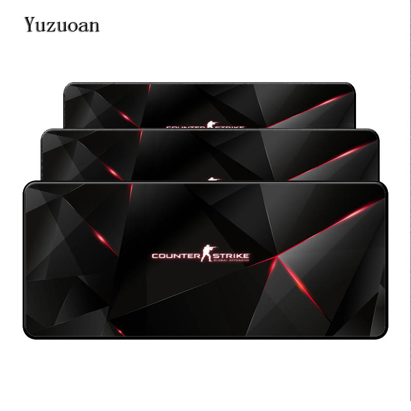 Yuzuoan <font><b>900x400</b></font> black lock edge counter-strike non-slip rubber computer desktop control game player speed large mouse pad image