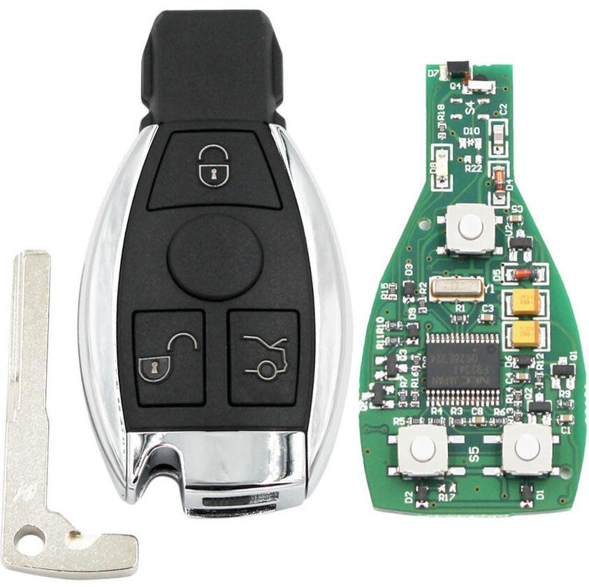 3 ปุ่มสมาร์ทรีโมทคีย์ 315 mhz/433 mhz fob สำหรับ Mercedes Benz หลังจาก 2000 + NEC & BGA เปลี่ยน NEC Chip