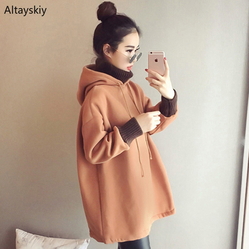 Hoodies Women Hooded Thicker Warm Soft Long Solid Simple All-match Korean Style Pullovers Womens Trendy Sweatshirts Chic Cute